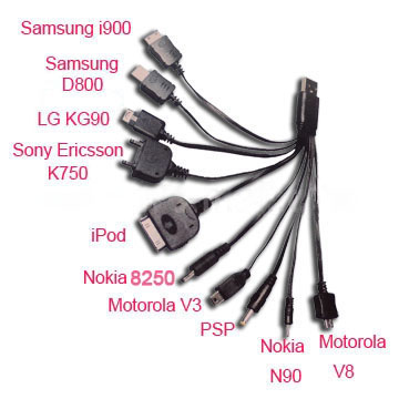 10 in 1 Universal Multi USB Charger Cable for iPhone iPod for Samsung HTC LG Nokia PSP