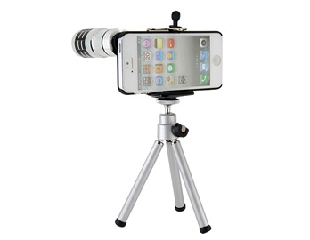 12X Aluminum Alloy Telescope with Super Coated Optical Lens for iPhone 5 -Silver