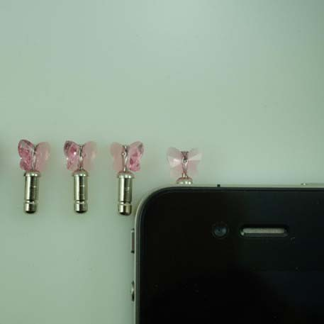 Butterfly-shaped Dust-proof Diamond Earphone Jack Plug for iPhone4/for iPhone4S