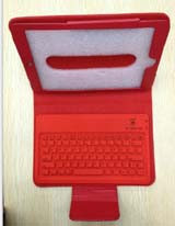2-in-1 Bluetooth Keyboard + Skin Leather Case for iPad Mini -Red