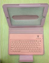 2-in-1 Bluetooth Keyboard + Skin Leather Case for iPad Mini -Pink