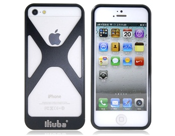 2 in 1 Ikuba Hollow Out Metal Case for iPhone 5 -Black