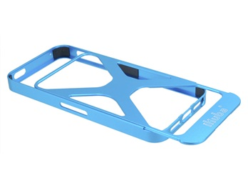 2 in 1 Ikuba Hollow Out Metal Case for iPhone 5 -Blue