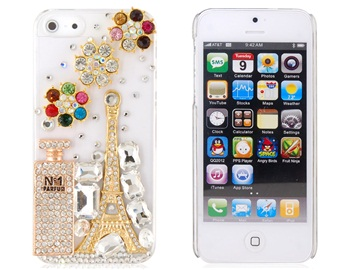3D Eiffel Tower & Flower Pattern Crystal Case for iPhone 5