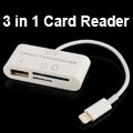 3-In-1 Camera Connection Kit 8 Pin Card Reader for iPad 4, Mini iPad