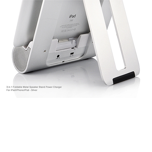 3-in-1 Foldable Metal Speaker + Stand + Power Charger For iPad for iPhone iPod - Silver