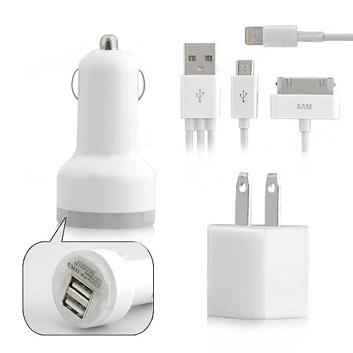 3 in 1 High Quality US Plug Car Travel Charger Kit for iPhone 5 for Samsung Galaxy S3 i9300
