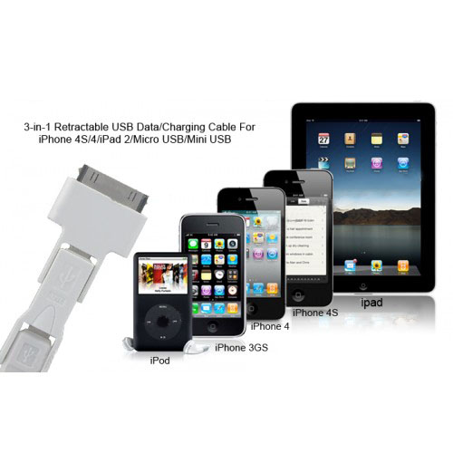 3-in-1 Retractable USB Data/Charging Cable for iPhone 4S/4/iPad 2/Micro USB/Mini USB