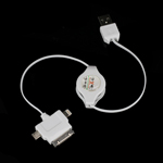 MicroUSB +8Pin +30 Pin Retractable USB Sync Charger Cable for iPad for iPhone, for Samsung i9300