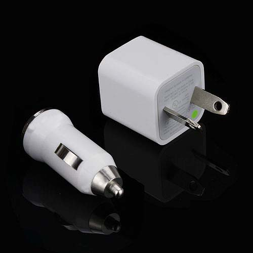 3-in-1 USB Wall & Car Charger + Lightning to USB Cable Travel kit for iPhone iPod Touch 5, N