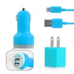 3 in 1 US Plug Car Travel Charger Kit for iPhone 5 - Blue