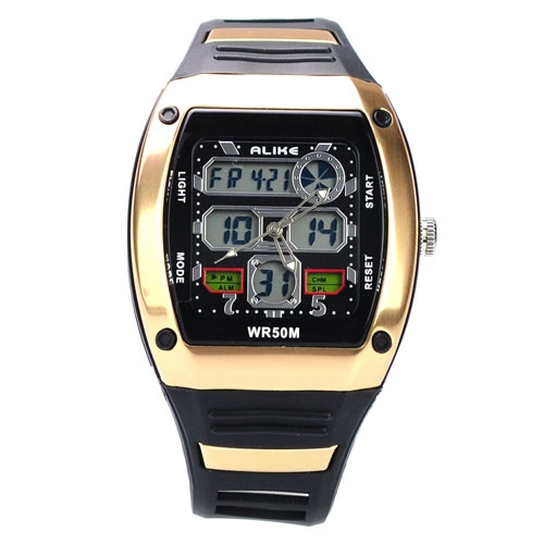 50M Waterproof Sport Watch with Dual Movement Stopwatch CHM Alarm SPL EL Backlight -Golden