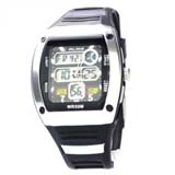 50M Waterproof Sport Watch with Dual Movement/Stopwatch/CHM/Alarm/SPL/EL Backlight -Silvery
