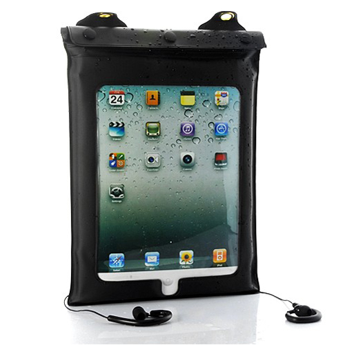 Waterproof Case and Earphones for Tablets (iPad, iPad 2, Android Tablet PC)