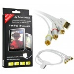 AV Audio Video Cable + USB Charger for iPhone 4S 4 3GS iPod iPad