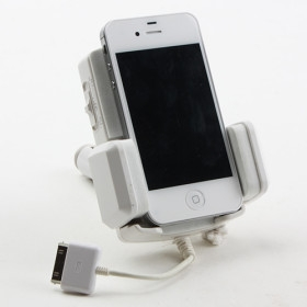 Adjustable Car Cigarette FM Transmitter Charger for iPhone and Cell Phone - White