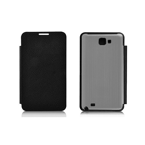 Brushed Metal Battery Back Cover With PU Leather Front Flip Cover for Samsung Galaxy Note i9