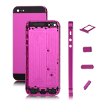 Electroplated Metal Housing Faceplates +Side Buttons +SIM Card Tray for iPhone 5 -Black/Rose