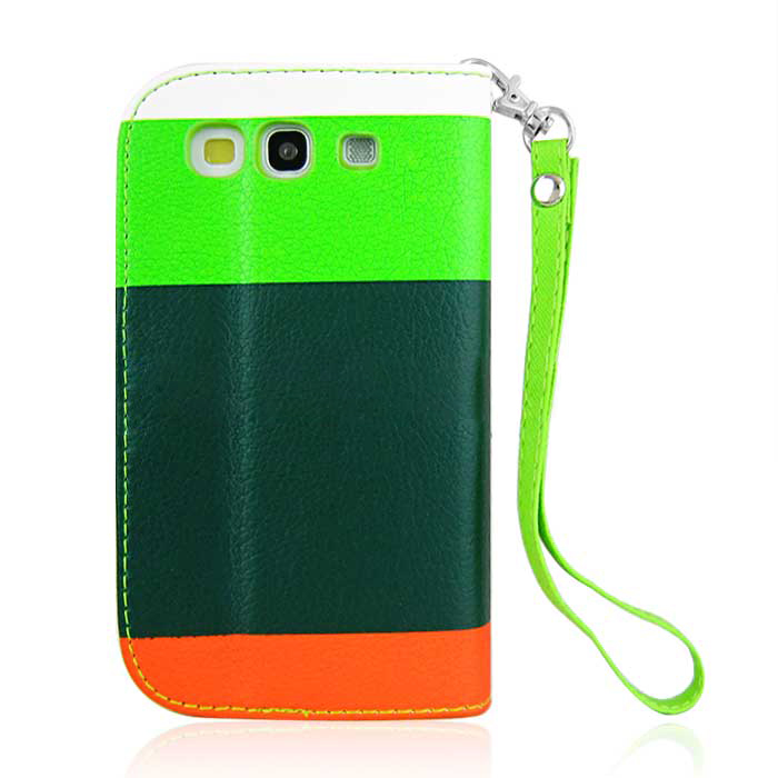 Colorful Leather Case Cover Pouch for Samsung i9300 Galaxy S III -5 Pattern -Green
