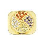 Colorized Windmill Rhinestone Home Button Key for iPhone 5 - Gold