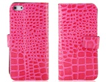 Crocodile Skin Pattern PU Leather Flip Protective Case for iPhone 5 -Pink
