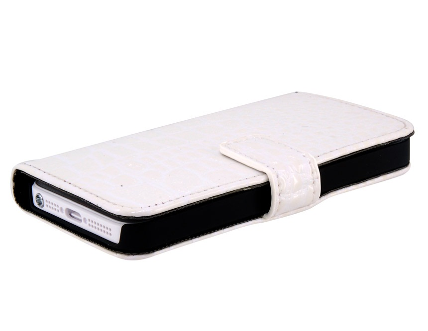 Crocodile Skin Pattern PU Leather Flip Protective Case for iPhone 5 -White