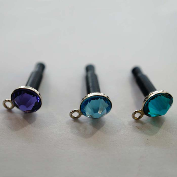 Flat With hook Pattern Dust-proof Diamond Earphone Jack Plug for iPhone4/for iPhone4S