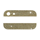 Deluxe Diamante Top and Bottom Metal Cover for iPhone 5 Back Housing - White Rhinestone / Go