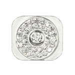 Diamante Home Button Key Replacement for iPhone 5 - Silver (Big Rhinestone)