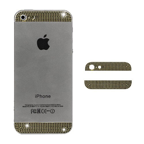 Diamond Metal Top and Bottom Cover for iPhone 5 Back Housing - Black Rhinestone / Gold
