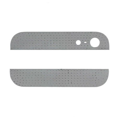 Diamond Metal Top and Bottom Cover for iPhone 5 Back Housing - White Rhinestone / Silver