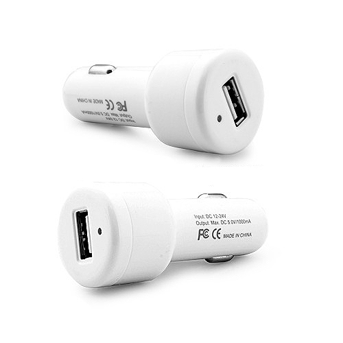 EU Plug Car Travel Power Kit for iPhone iPod BlackBerry HTC for Samsung - White