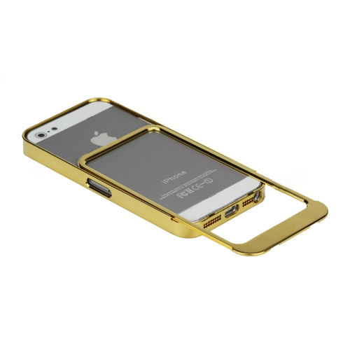 Electroplated Slide-on Metal Bumper Frame Case Cover for iPhone 5 -Golden