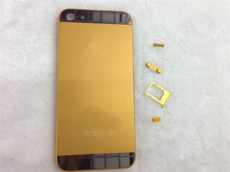 Electroplated for iPhone 5 Rear Case Middle Frames Full Housing -Gold