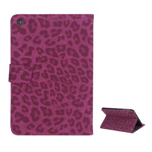 Excellent Leopard Folio Stand Leather Wallet Case for iPad Mini - Rose