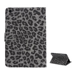 Excellent Leopard Folio Stand Leather Wallet Case for iPad Mini - Grey