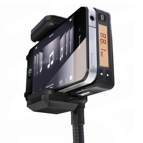 FM Transmitter Car Charger Car Mount Holder with Suction Cup for iPhone MP3 Cell Phone - Bla