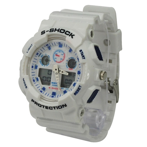 Fashion EL Light 30M Waterproof Dual Time Analog Double Digital Sports Watch - White