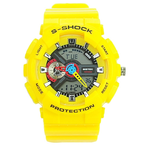 Fashion EL Light 30M Waterproof Dual Time Analog Digital Stop Sports Watch - Yellow