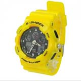 Fashion EL Light 30M Waterproof Dual Time Analog Double Digital Sports Watch - Yellow