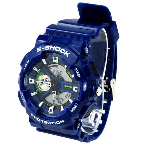 Fashion EL Light 30M Waterproof Dual Time Analog Digital Stop Sports Watch -Dark Blue