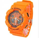 Fashion EL Light 30M Waterproof Dual Time Analog Double Digital Sports Watch - Orange