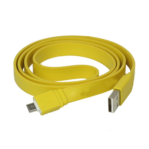 Flat Micro USB Charging Data Cable for Samsung V8 HTC Sony Nokia etc - Yellow