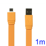 Flat MicroUSB Data Sync Charge Cable for Samsung HTC Sony Nokia etc - Orange