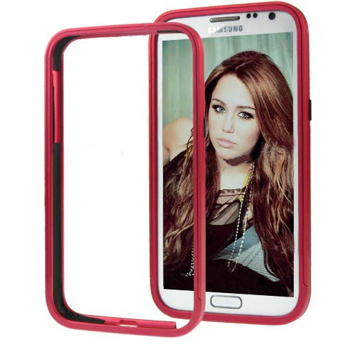 for Samsung Galaxy Note 2 N7100 Aluminum Slide-On Metal Bumper Case- Red