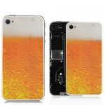 for iPhone 4 Foaming Beer Pattern Back Cover - White Supporting Frame