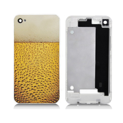 for iPhone 4 Limpid Beer Pattern Back Cover For - White Supporting Frame