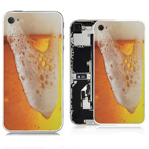 for iPhone 4S Brimming Beer Pattern Back Cover - White Supporting Frame