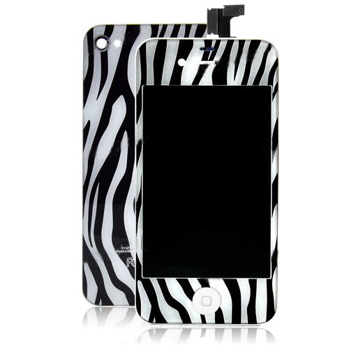 for iPhone 4S Zebra Stripe LCD Screen and Back Cover