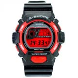 G-SHORS Multi-functional LED Light 30M Waterproof Calendar Alarm Digital Sports Watch -Red